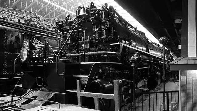 DM&IR 227 Steam Locomotive Black and White