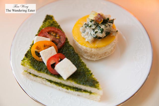 Caprese and mango chicken curry tea sandwiches