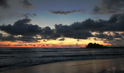 ocean travel sunset sky clouds canon temple outdoor south sri lanka tropics matara duwa paravi