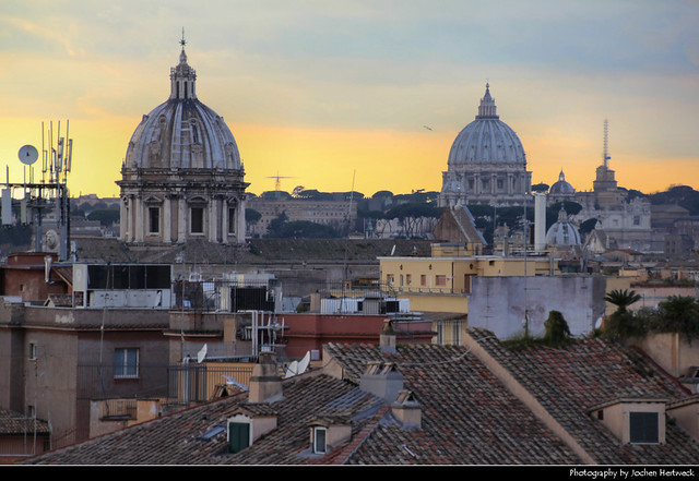 Sunset seen from Monumento a Vittorio Emanuele II, Rome, Italy