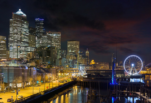 Seattle Skyline by the Pier at Night