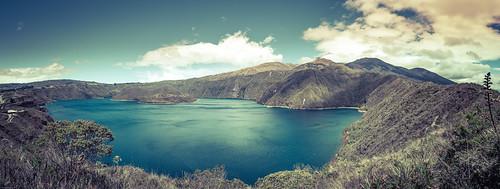 travel panorama lake water america canon island volcano ecuador south panoramic crater laguna ec imbabura cuicocha eos6d