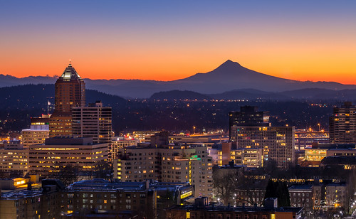 city blue winter orange mountain yellow buildings portland dawn cityscape mt view hills clear mount hood westhills