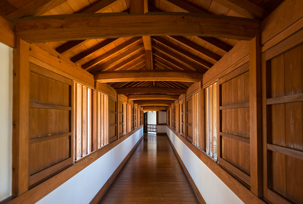 Wooden Hall Inside Himeji Castle In Japan Wide Angle View
