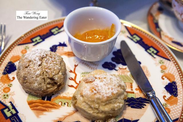 Cinnamon pecan scone and raisin scone with orange preserves