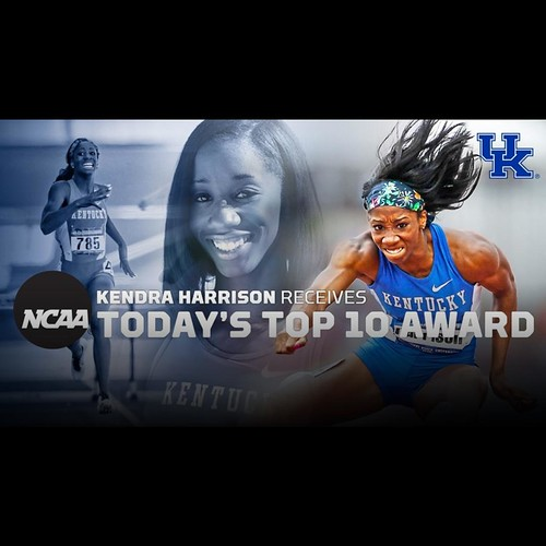 Congrats to our Wildcat of the Week, Kendra Harrison! Kendra is being honored tonight as one of the country's exemplary college athletes in 2016's Today's Top 10 Award winners at the @ncaasports Convention. During her 2015 @kentuckytrack season, she went
