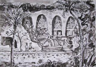 Ngakan Ketut Parweka, Situs Gunung Kawi, 29 x 42 cm , Ink on Paper 2016