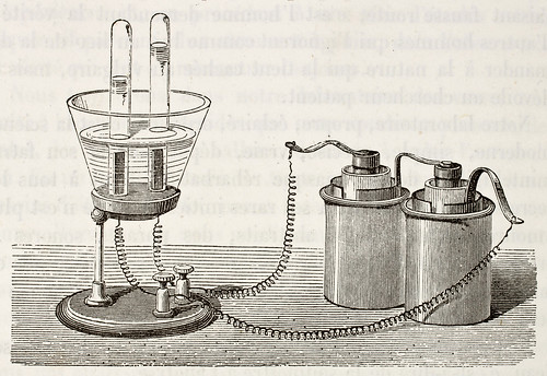 Antique illustration of electrolysis laboratory equipment. Original, from drawing of Javandier, was | by aqua.mech