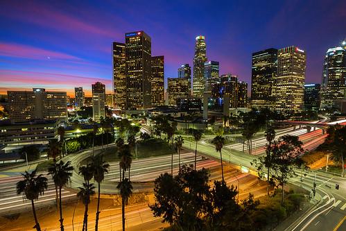 skyline sunrise cityscape lighttrails dtla downtownlosangeles laskyline downtownsunrise dtlaskyline ©shabdrophoto