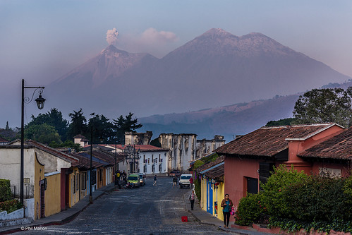 Volcán de Fuego, an active stratovolcano, erupts beside Volcán Acatenango over Antigua, Guatemala | by Phil Marion (182 million views - THANKS)