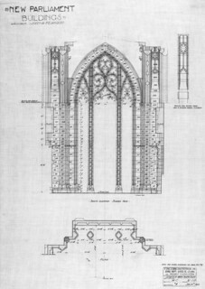 An architectural drawing showing the Screen Arch, with south elevation and plan... / Dessin architectural de l'arche de la façade sud...