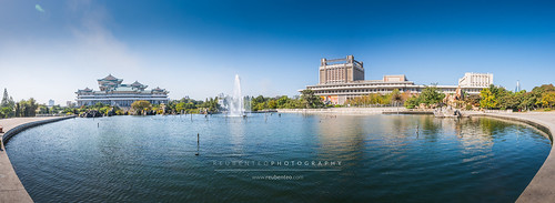 Mansudae Water Park with view of the Grand People's Study House | by reubenteo