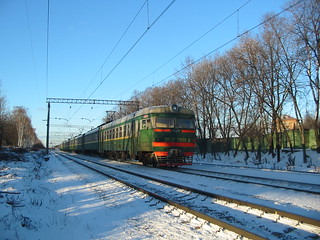 RZD ER2R-7030. Leningradskoe direction, monorail crossing Moscow.