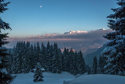 trees winter sunset sky moon white mountain snow mountains cold tree ice misty fog forest canon de bayern deutschland eos frozen hut allgäu oberallgäu cabib 70d obermaiselstein