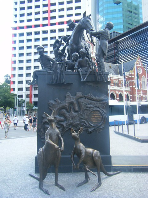 Brisbane, Australia, statue of kangaroos, horse, man woman and children - Petrie Tableau, King George Square