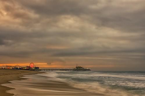 california longexposure morning winter sky color beach clouds sunrise dawn losangeles sand nikon waves santamonica pacificocean socal 1130 santamonicapier pacificwheel d7000 richgreenephotography dogwood52 dogwood52challenge