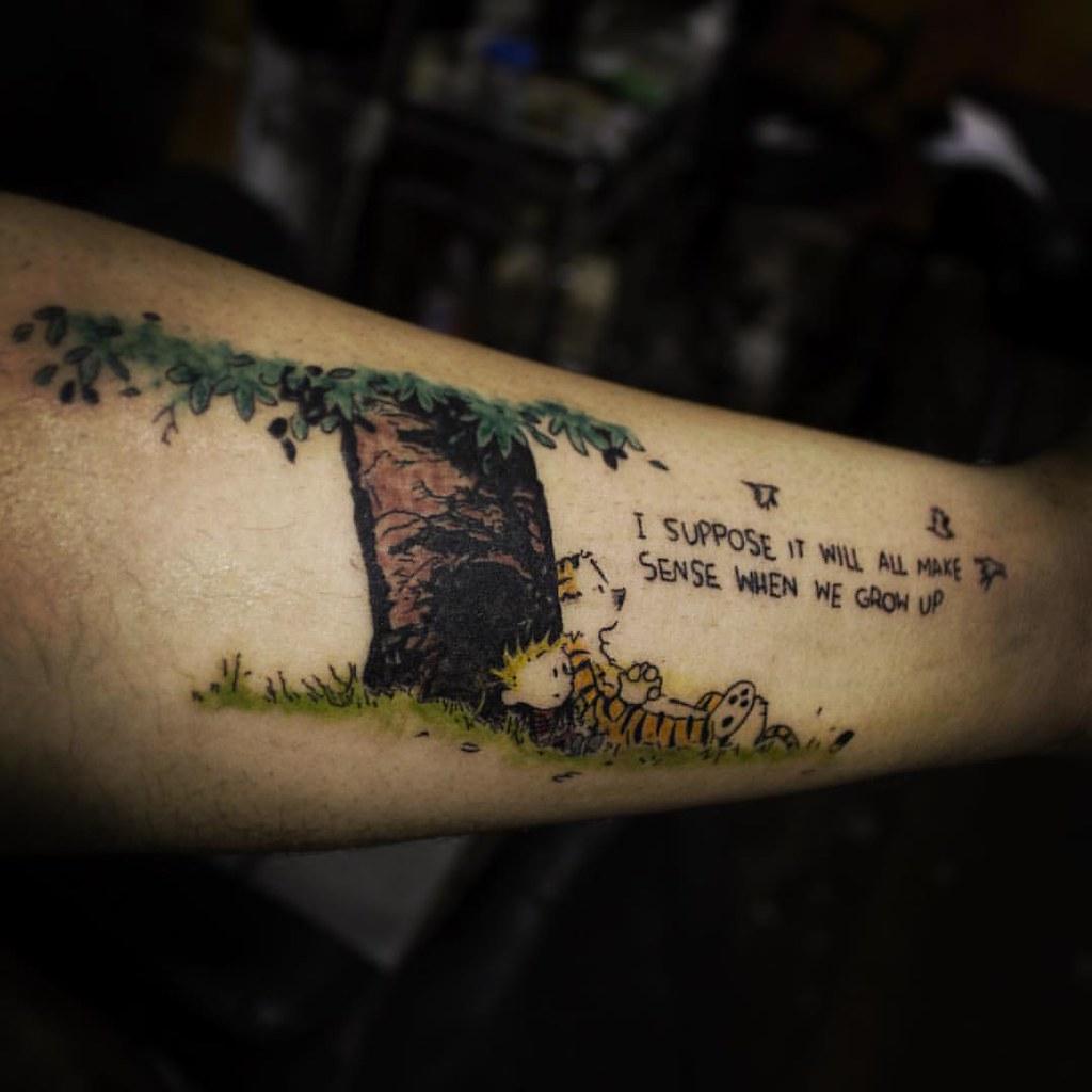 8be4a56323c76 I suppose it will all make sense when we grow up #calvinhobbes #comic # tattoo by #tattooartist #veerhegde at #tattoobangalore #bangalore  #bangaloretattoo ...