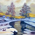 Winterlandschaft wie sie häufig auf die Banater Hausgänge gemalt wurde, Ölgemälde