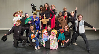"Wed, 03/30/2016 - 16:34 - Genesee Community College Forum Players Children's Theatre ensemble present ""Little Red Robin Hood. Left to right front row: Drew Burt, Blake Carter, Marissa Carbonell, Amber Foppes, Alden Foppes. Back row: Rebecca Truesdell, Shelby Waterman, Akihiro Tamura, Adrienne Huggins, Maria Albanese, Shilo Foppes, Michael Stewart, Rashadsan Alexander, Amanda Scaglione and Alex Farley"