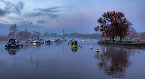 fog mist boats yacht tree lamppost morning winter feb gb unitedkingdom reflection outdoor christchurch nature riverhouse water dorset paisajes christchurchquay anthonywhitesphotography