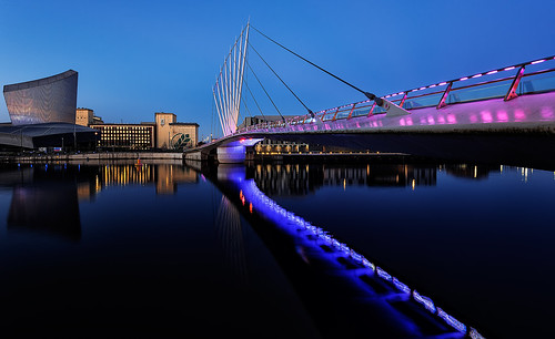 city longexposure bridge england urban reflection water modern sunrise wow river landscape manchester dawn still media neon northwest earlymorning illumination vivid salfordquays calm pop lancashire attractive docklands colourful salford mersey imperialwarmuseumnorth urbanlandscape regeneration neonlight irwell waterreflections greatermanchester mediacity peterowbottom nikond750