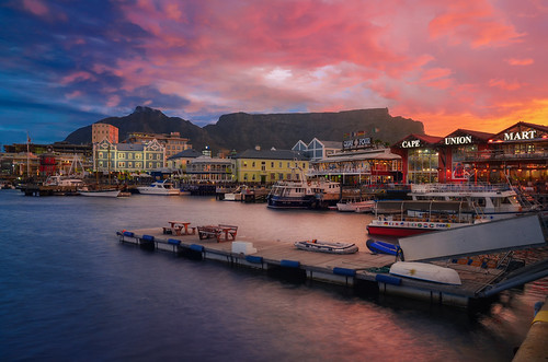 africa travel sunset vacation sky colors sunrise reflections landscape southafrica pier cityscape waterfront capetown shops tablemountain