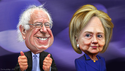 Bernie Sanders and Hillary Clinton - Caricatures | by DonkeyHotey