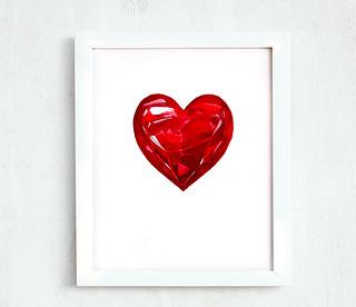 Printable crimson garnet heart 8 10 | by Dina Argov