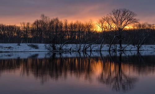 sun snow cold reflection tree water silhouette clouds sunrise river early michigan ottawa february grandriver 2016 westmichigan ottawacounty canon7dmarkii kevinpovenz ottawacountyparks grandravinesnorth