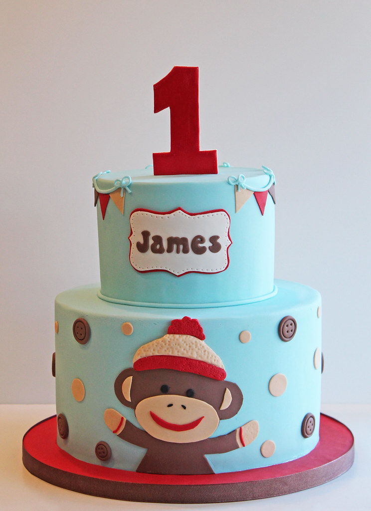 Miraculous Sock Monkey First Birthday Cake 9 And 6 Beth Flickr Funny Birthday Cards Online Barepcheapnameinfo
