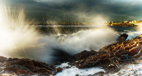 mar agua playa cielo nubes olas rocas montgat salpicaduras sonya77