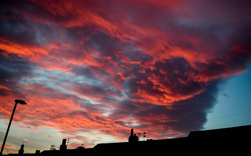 roof red chimney sky colour clouds sunrise rooftops leeds chapel cumulus allerton