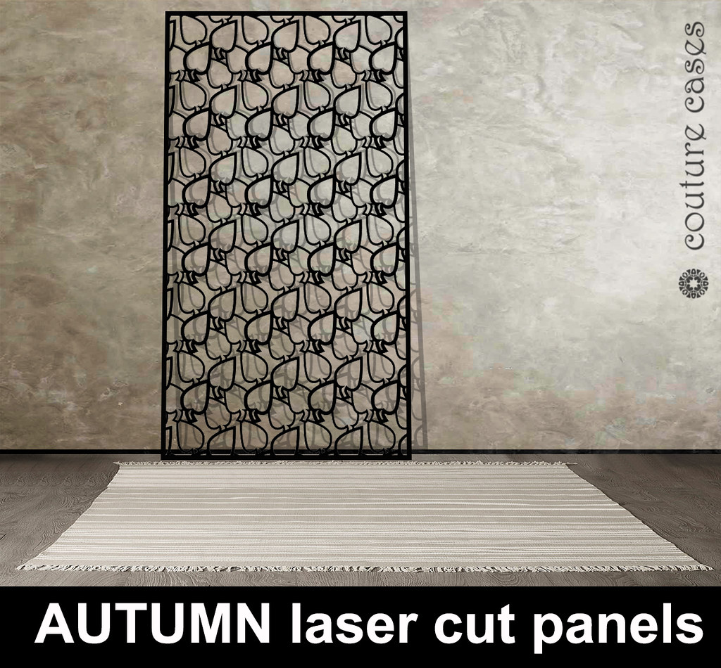 AUTUMN laser cut metal patterns on grey floor with rug by