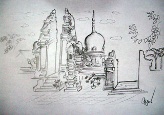 I Wayan Gede Suwahyu , Pura Pegulingan, 21 x 29 cm, Pencil on Paper