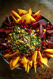 Beet Quinoa Salad with mint, pomegranate and pistachios from HeatherChristo.com | by Heather Christo
