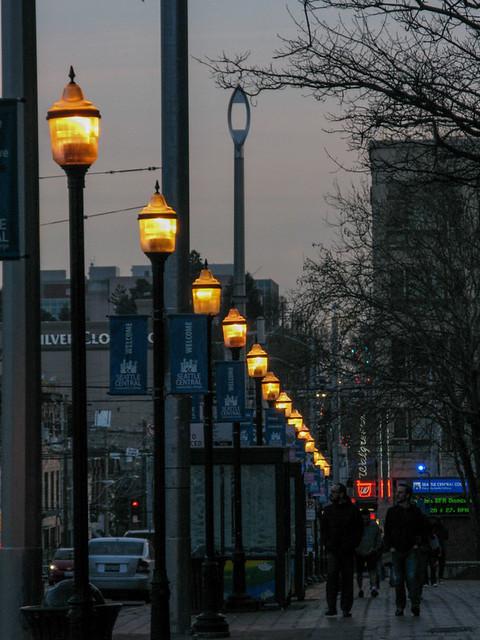 Broadway Streetlights at Dusk