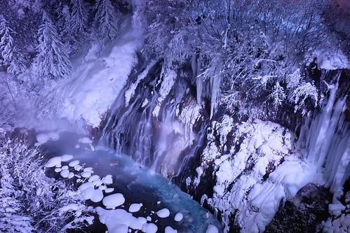 snow japan waterfall hokkaido 北海道 日本 biei 雪 滝 美瑛