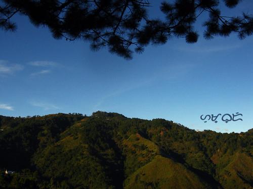 baguio monterazzas silhouette trees mountain sky bluesky outdoor landscape serene canon powershota480 travel vacation landschaft