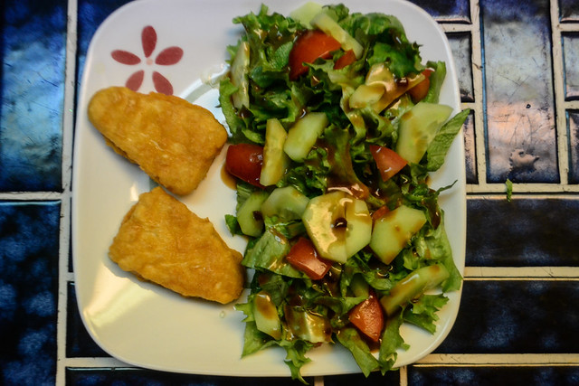 Fishless Filets and Salad with Sesame Dressing (Vegan)