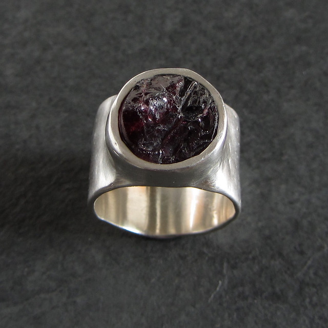 Rough garnet ring