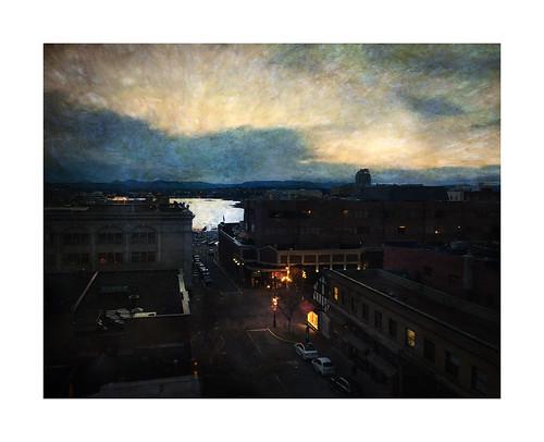city sunset urban painterly texture night harbor bc nightscape dusk victoria