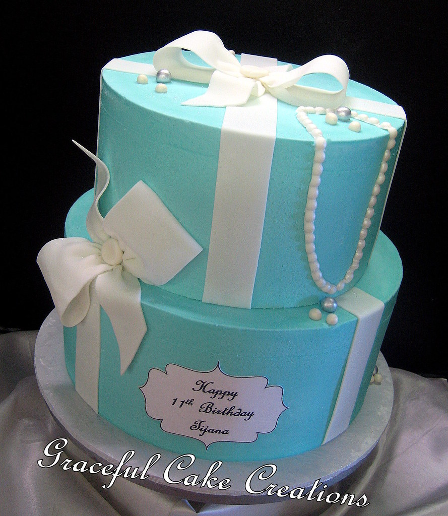 Pleasing Elegant Tiffany Blue Birthday Cake Grace Tari Flickr Funny Birthday Cards Online Alyptdamsfinfo