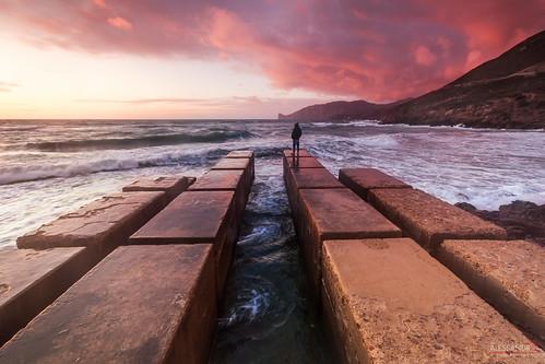 pink blue sunset red sea sky sun seascape mountains beach water clouds port sunrise canon landscape coast boat rocks waves sardinia landing funtanamare masua gonnesa
