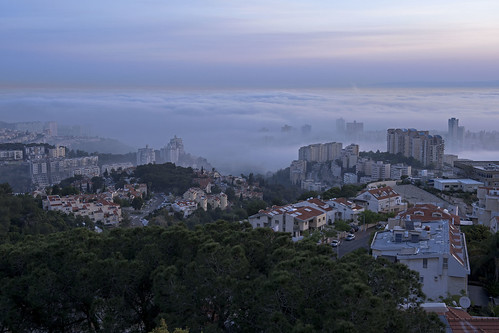 morning sky panorama mist fog skyline sunrise landscape israel cityscape ngc shore haifa urbanlandscape mediterraniansea