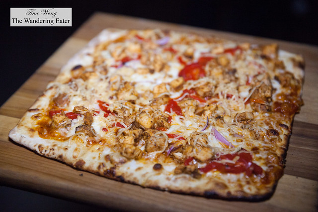 BBQ Chicken pizza with local tomatoes, onions & BBQ sauce from Brooklyn Pasta + Pizza