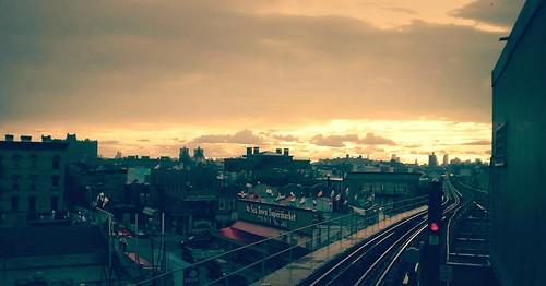 city sunset sky usa sun ny newyork clouds buildings photography us photo outdoor citylights orangesky majkakmecova