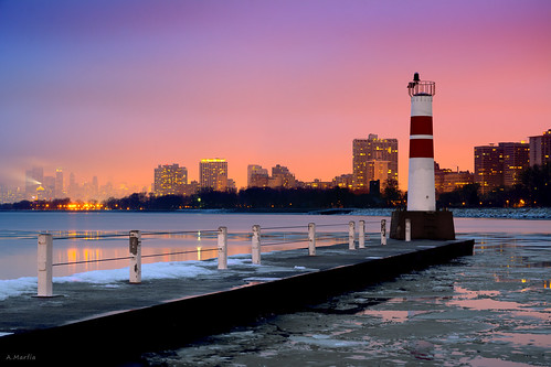 longexposure pink winter sunset snow chicago ice iso100 pier purple cloudy tripod foggy lakemichigan uptown rainy beacon f8 montroseharbor lakefront citiscape 8sec palmolivebuilding skyling d7100 1685mm