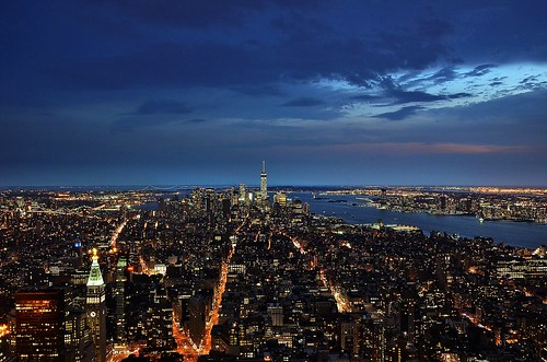 nyc panorama usa newyork skyline night cityscape view manhattan nocturna empirestatebuilding bluehour lowermanhattan oneworldtradecenter
