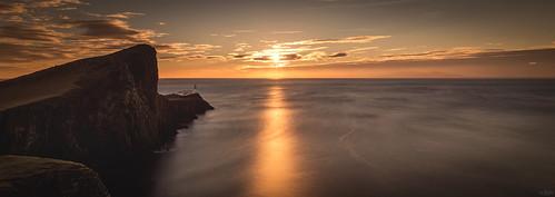 uk sunset sea panorama lighthouse seascape reflection skye water sunrise landscape island golden coast scotland nikon long exposure stitch pano scottish cliffs coastline iain 20 isle brooks d610 18g