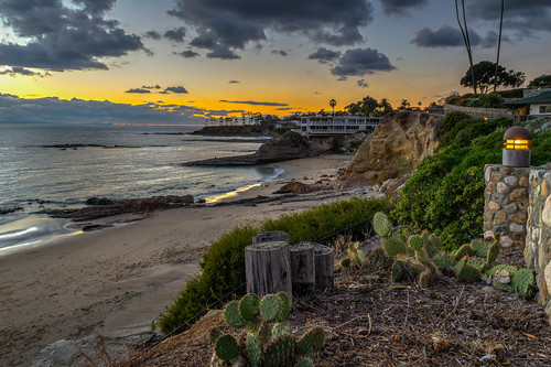 ocean california winter sunset cactus sky cliff seascape beach clouds geotagged evening sand nikon unitedstates palmtrees pacificocean palmtree hdr lagunabeach heislerpark diverscove nikond5300